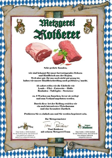 Qualitäts-Zertifikat Metzgerei Roiderer