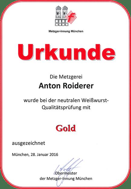 Metzgerei Roiderer - Urkunde in Gold Weißwurst Qualitätsprüfung